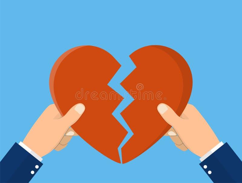 Mãos que rasgam o símbolo separado do coração ilustração do vetor