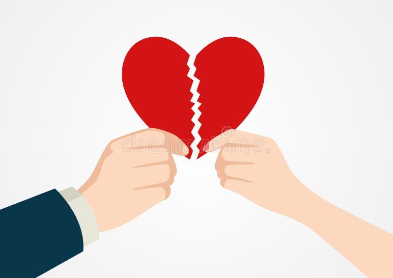 Mãos que rasgam o símbolo separado do coração ilustração royalty free