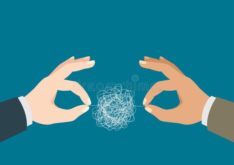Mãos que tentam desembaraçar a linha tangled ilustração royalty free