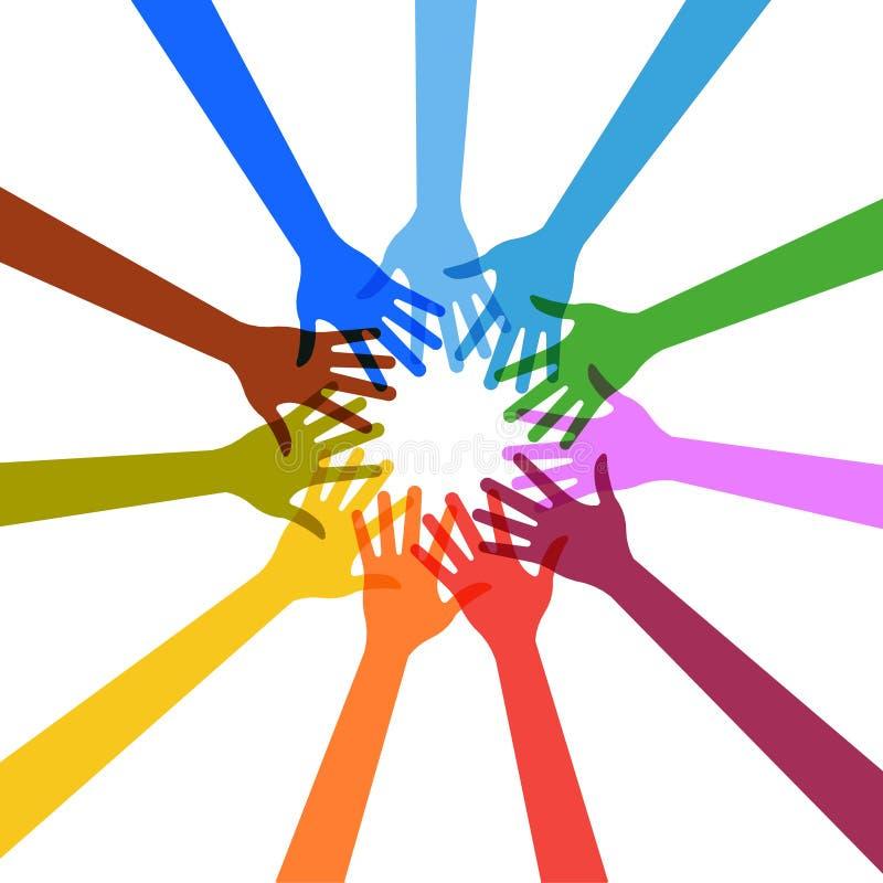 Mãos que tocam-se em no círculo ilustração stock