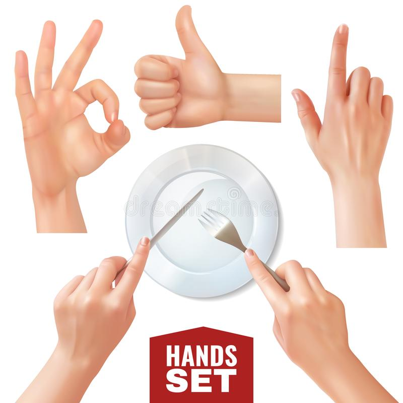 Mãos realísticas ajustadas ilustração stock