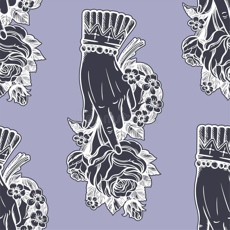 Mãos sem emenda do vintage com teste padrão de flor cor-de-rosa fotografia de stock royalty free