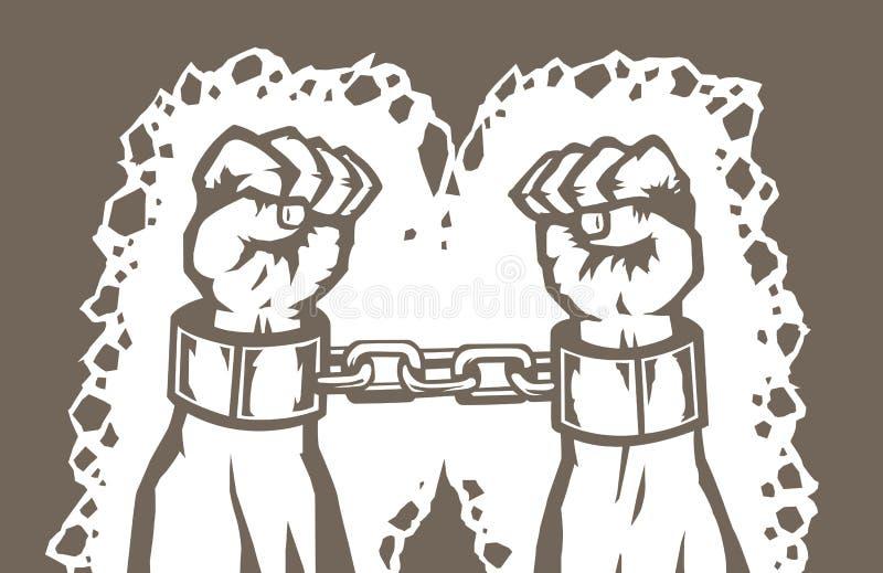 Mãos Shackled ilustração stock