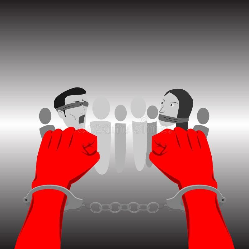 Mãos Shackled ilustração royalty free