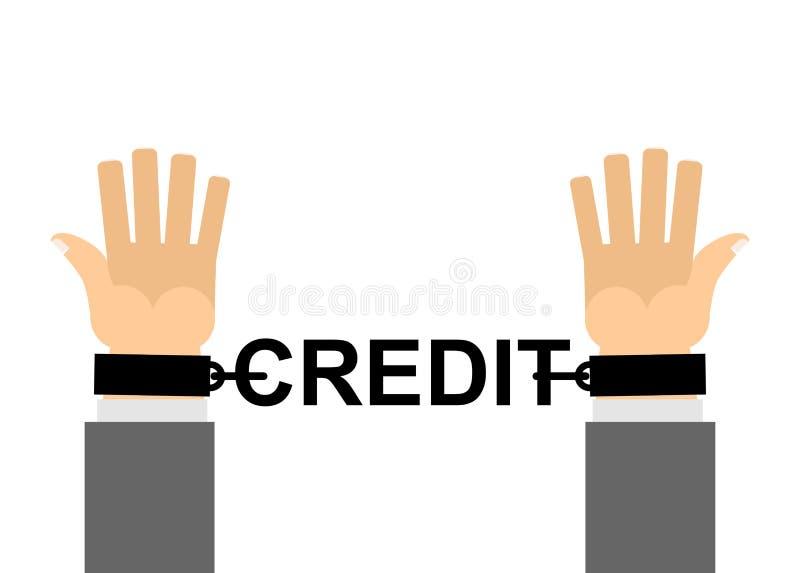 Mãos shackled com crédito das correntes Escravidão financeira Nosso dinheiro l ilustração stock