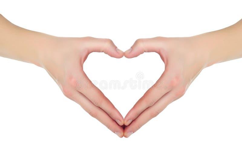 Mãos sob a forma do coração imagens de stock royalty free