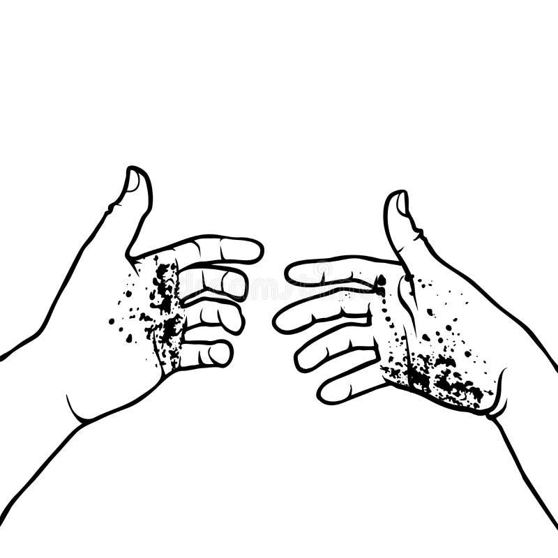 Mãos sujas ilustração do vetor