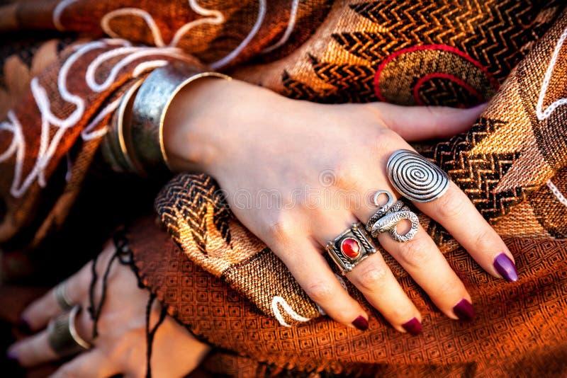 Mãos tribais imagens de stock