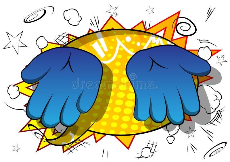 Mãos vazias dos desenhos animados do vetor no fundo da banda desenhada ilustração do vetor