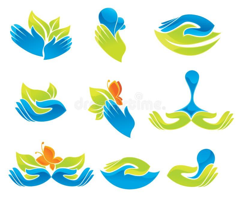 Mãos verdes e azuis ilustração do vetor