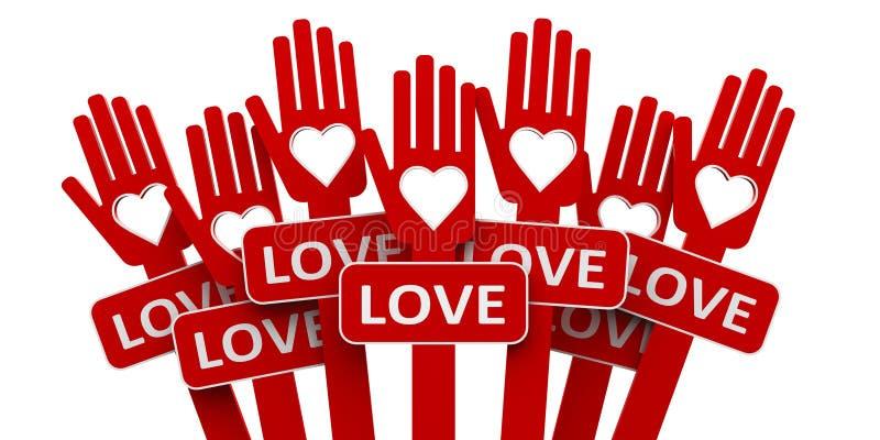 Mãos vermelhas com amor ilustração do vetor