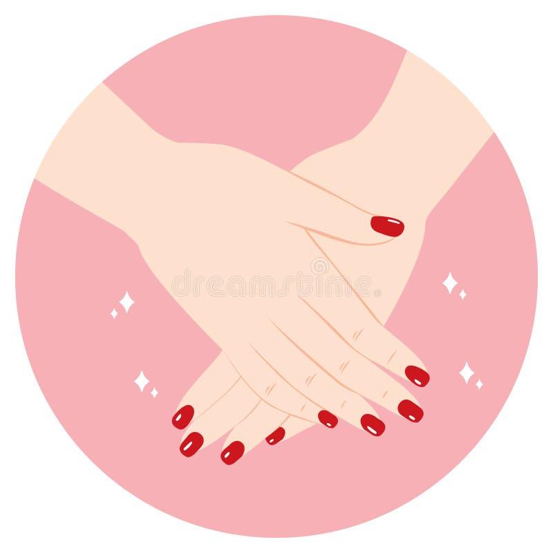 Mãos vermelhas do tratamento de mãos ilustração royalty free