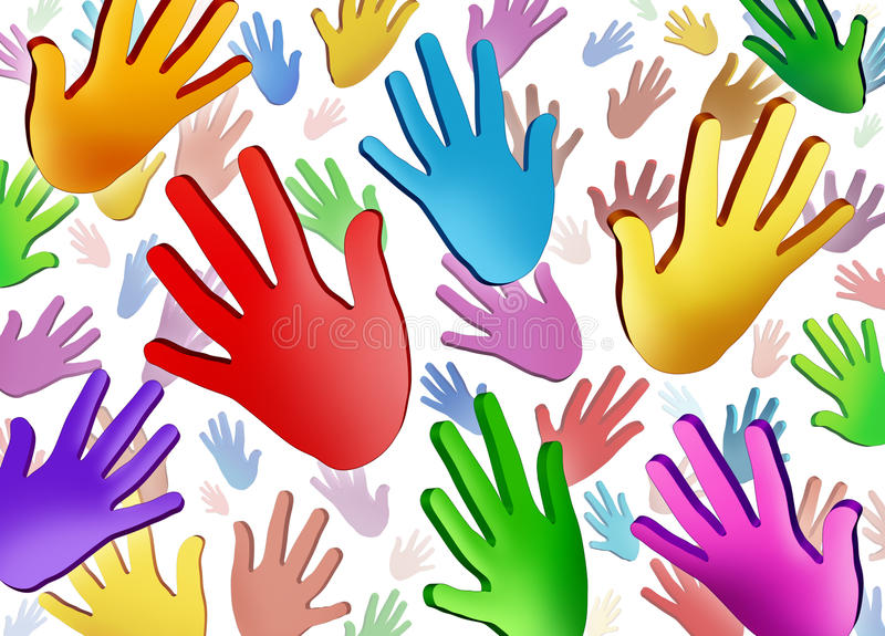 Mãos voluntárias ilustração stock