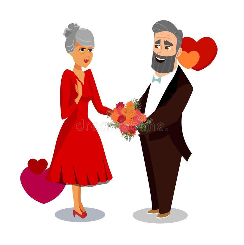 Mąż daje kwiaty żony kreskówki rysunek royalty ilustracja
