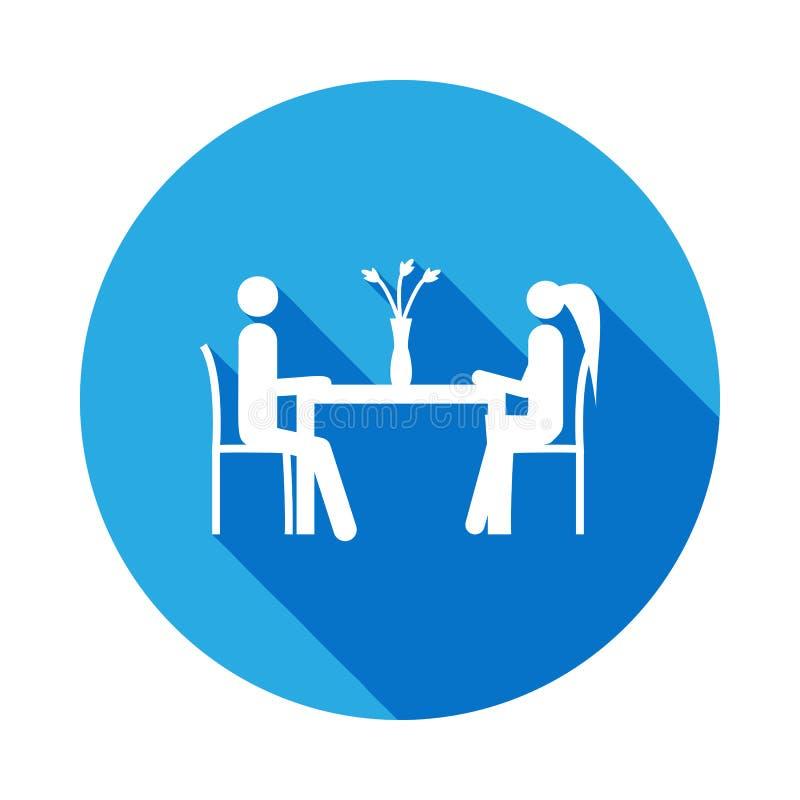 mąż i żona siedzimy przy stołową ikoną Element życia poślubiający ludzie ilustracyjni Znaki i symbol inkasowa ikona dla royalty ilustracja