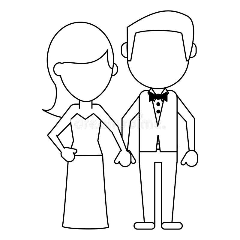 Męża i żony beztwarzowy avatar w czarny i biały ilustracja wektor