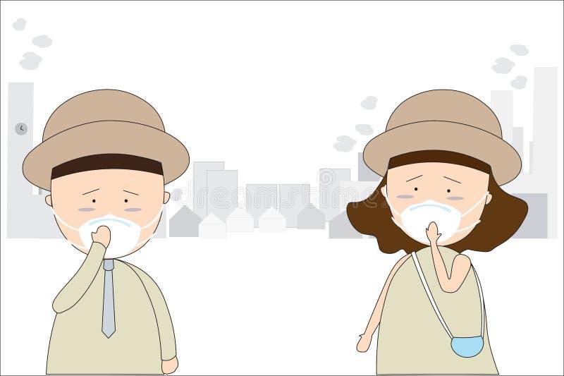 Mężczyźni i kobiety noszą maski zapobiegać zanieczyszczenie powietrza w mieście Tak jak pył, dymi i wącha royalty ilustracja