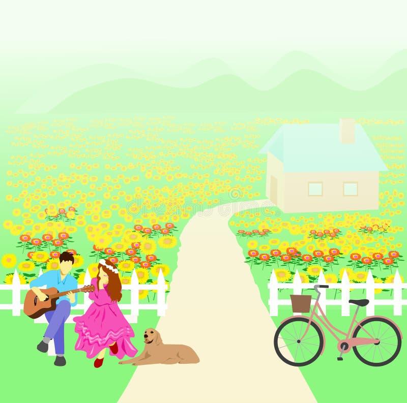 Mężczyzna bawić się gitarę dla białej kobiety słuchać Tam są psy i bicykle obok z słonecznika ogródem, ilustracja wektor