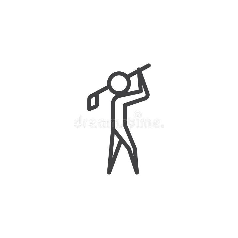 Mężczyzna bawić się golf kreskową ikonę royalty ilustracja