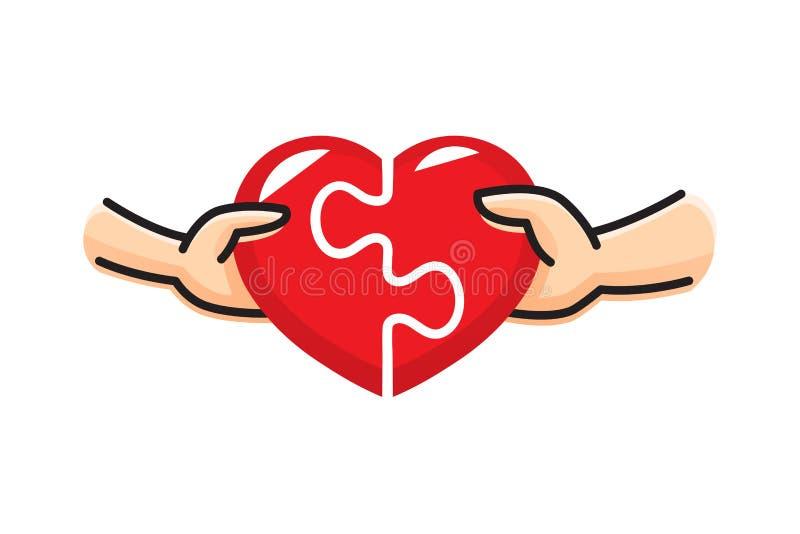 Mężczyzna i kobieta stawiamy czerwoną kierową łamigłówkę wpólnie Miłość i związek Pojęcie walentynki ` s dzień również zwrócić co ilustracji