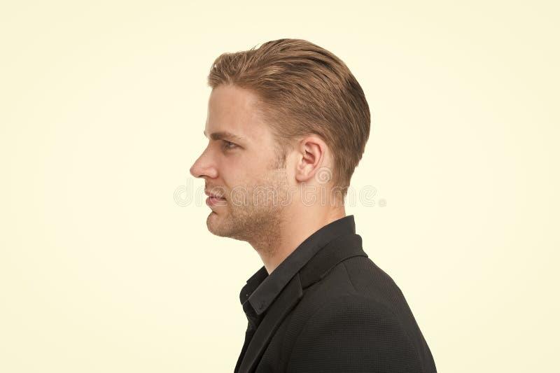Mężczyzna kostiumu formalny biznesmen, boczny widok Biznesowy kod ubioru Biznesowy przypadkowy Przypadkowy spojrzenie robić dla p fotografia royalty free
