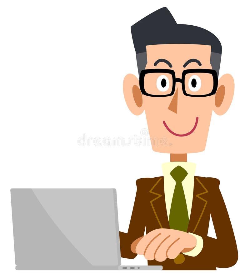 Mężczyzna który jest ubranym szkła jest ubranym brązu kostium działać komputer osobistego royalty ilustracja