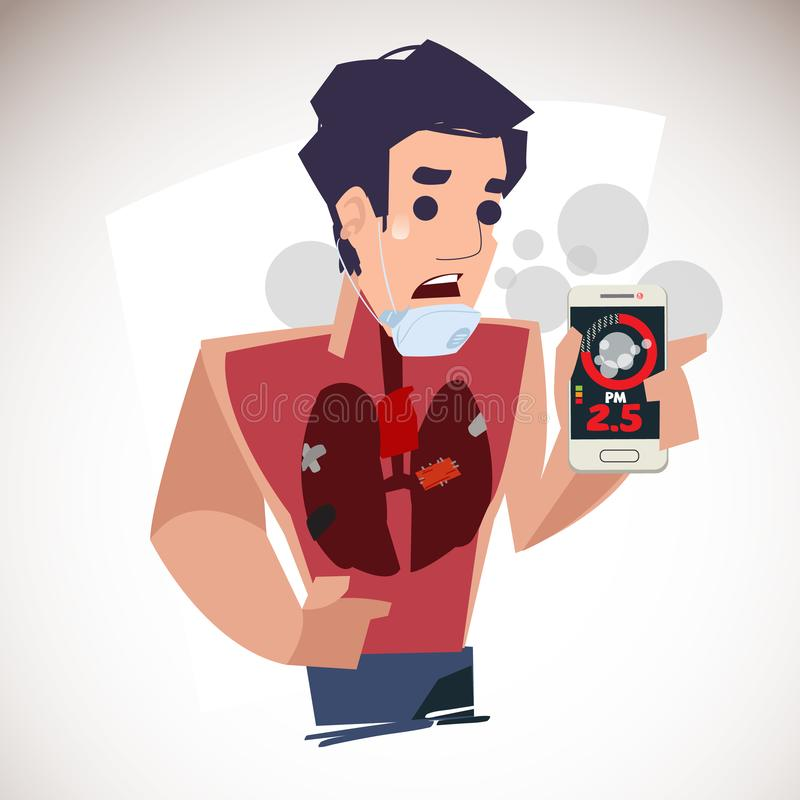 mężczyzna pokazuje PM 2 5 w pyłu metrowym zastosowaniu smartphone i dostają złego zdrowego płuco zdjęcie stock