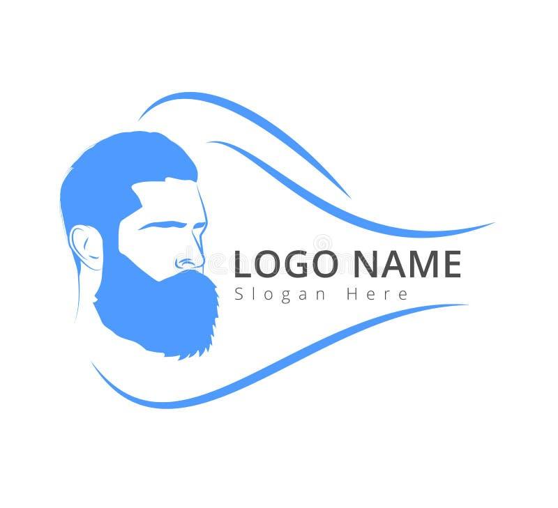 Mężczyzna ` s twarz z brodą Wąsy, logo wektor ilustracji