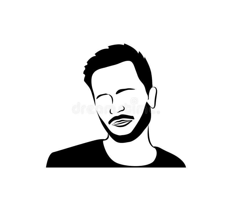 Mężczyzna ` s twarz z brodą Wąsy, logo wektor royalty ilustracja