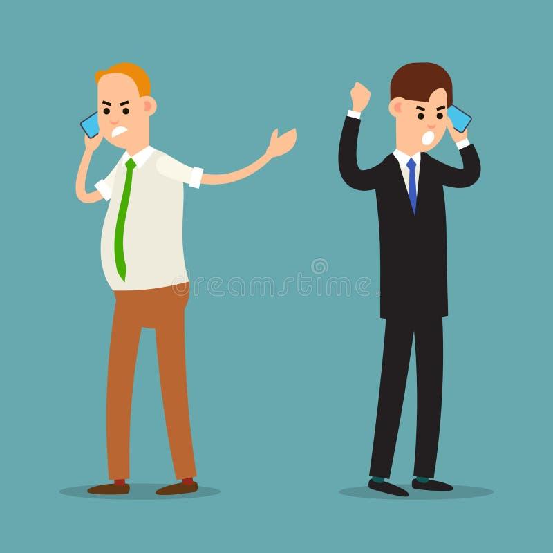 mężczyzna telefonu target2_0_ Emocjonalna komunikacja biznesowa Agresywny zachowanie biznesmen stresująca sytuacja sprawa tła odi ilustracji