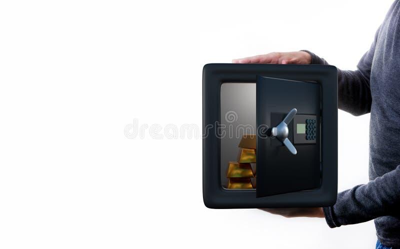 Mężczyzna trzyma otwartą skrytkę z monetami zdjęcia stock