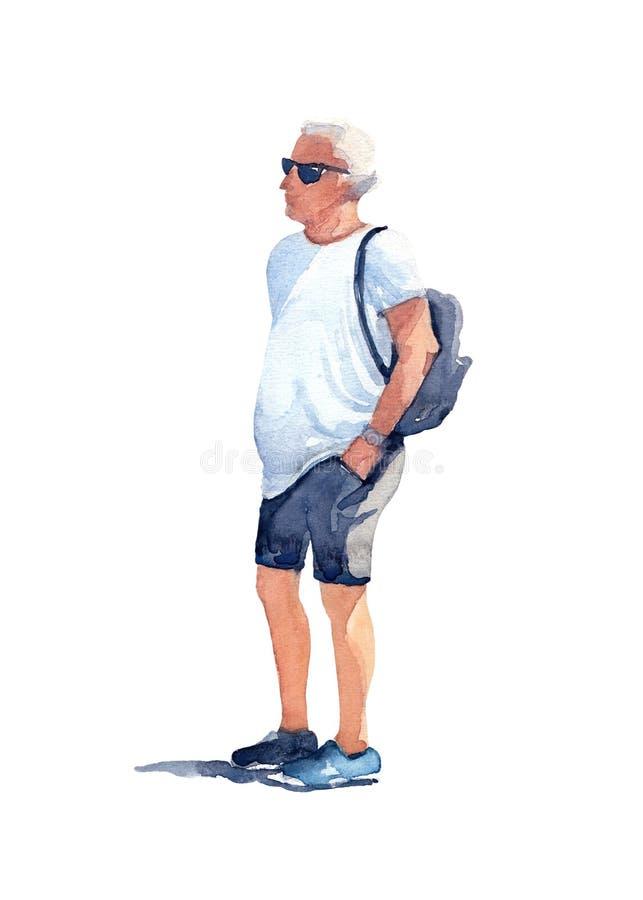 Mężczyzna w czarnych okularach przeciwsłonecznych, białej koszulce, szarość skrótach i błękitnych sneakers z czarnym plecakiem na ilustracji