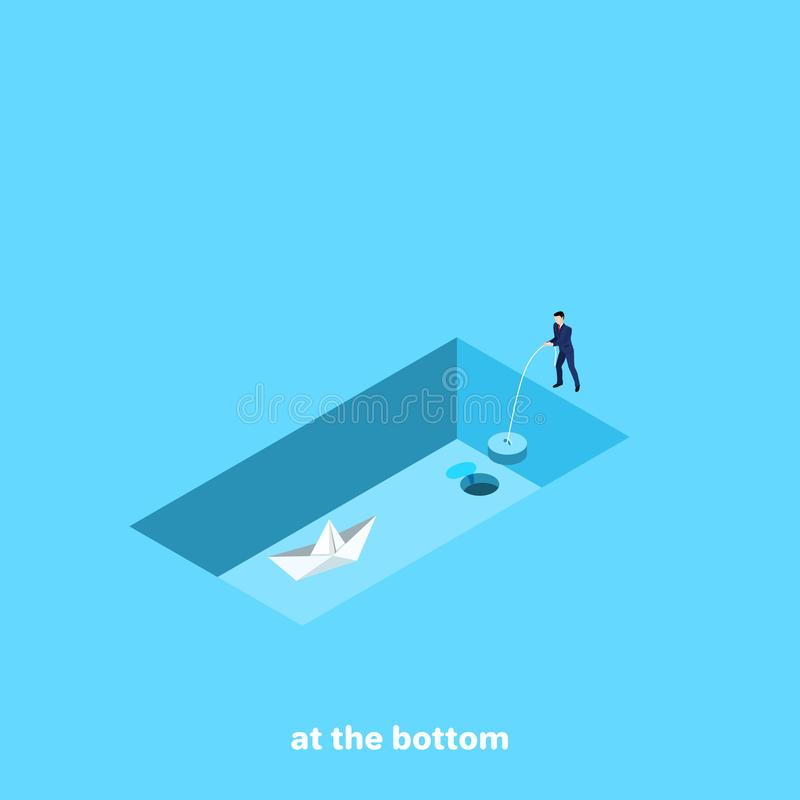 Mężczyzna w garniturze trzyma korek od pustego basenu papierowy łódź w którym jest tam royalty ilustracja