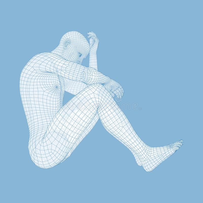 Mężczyzna w myśliciel pozie 3D model mężczyzna ludzkie ciało majtek szczupła kobieta royalty ilustracja
