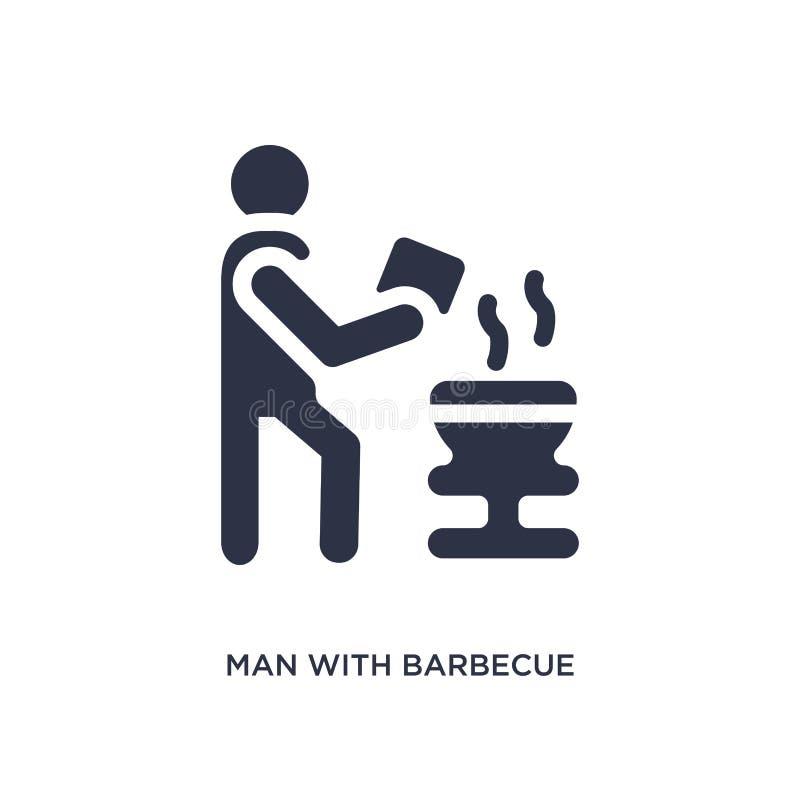 mężczyzna z grill ikoną na białym tle Prosta element ilustracja od zachowania pojęcia royalty ilustracja
