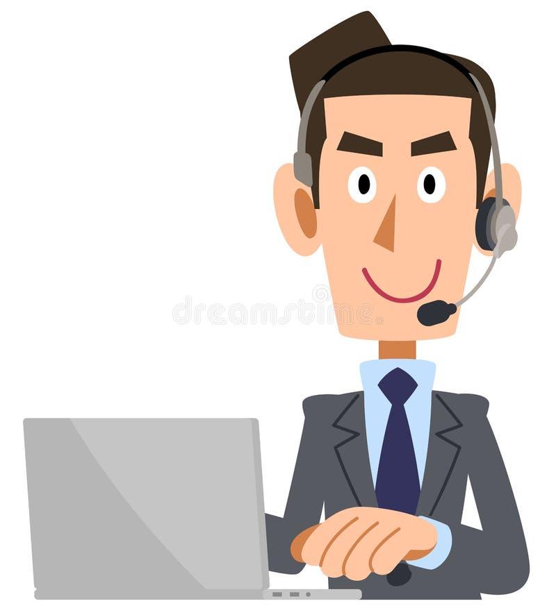 Mężczyzna z kostiumem dostosowywającym z słuchawki która działa komputer osobistego ilustracji