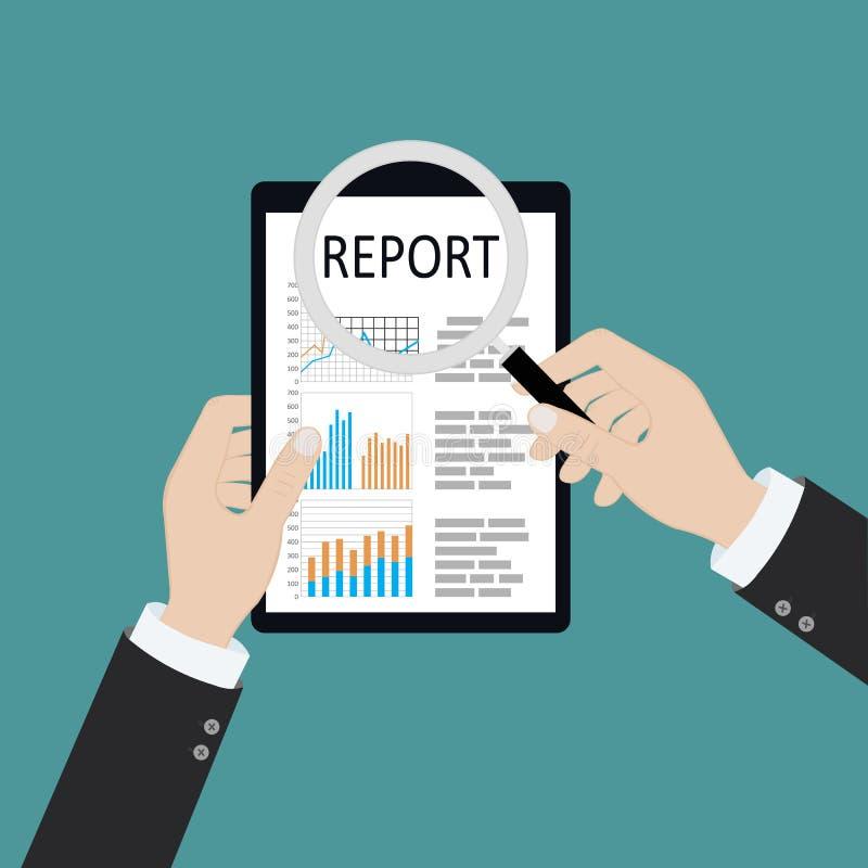 Mężczyzna z powiększać - szkło analizuje z wykresami i diagramy raportowego, papierowego, Badanie, planowanie, analiza E ilustracji