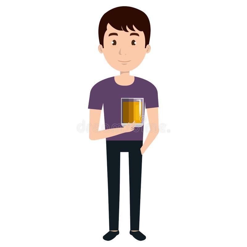Mężczyzna z whisky szklanym napojem ilustracja wektor
