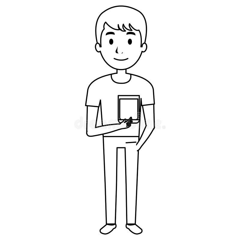 Mężczyzna z whisky szklanym napojem ilustracji