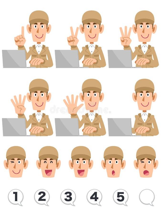 Mężczyzny być ubranym który liczy liczby z jego palcami podczas gdy działający komputer osobistego, set twarzowy błękitni pracują ilustracja wektor