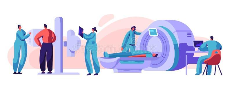 Mężczyzny czeka Xray Mri zdrowie Cierpliwy pojęcie Medyczna radiologia ekranu maszyna dla Ray napromieniania klatki piersiowej Zr royalty ilustracja