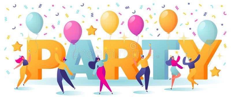 Mężczyzny i kobiety charaktery tanczy blisko wielkich listów w wakacyjnej nakrętce BAWJĄ SIĘ z confetti i balonami na tle Ludzie  ilustracja wektor