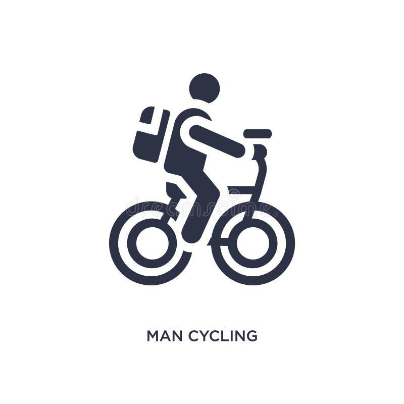 mężczyzny kolarstwa ikona na białym tle Prosta element ilustracja od zachowania pojęcia royalty ilustracja