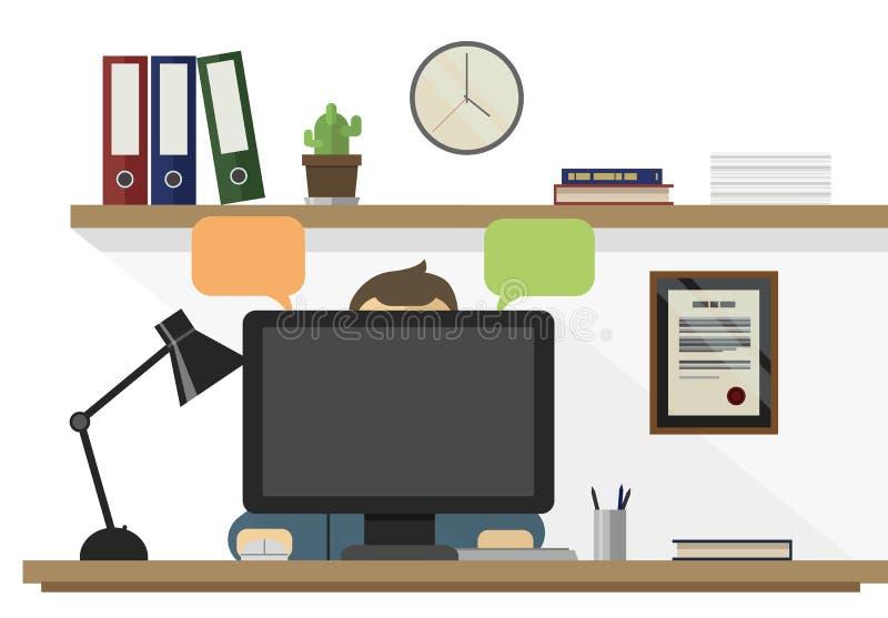 Mężczyzny obsiadanie w jego biurowym działaniu na komputerowej płaskiej projekta wektoru ilustracji ilustracji