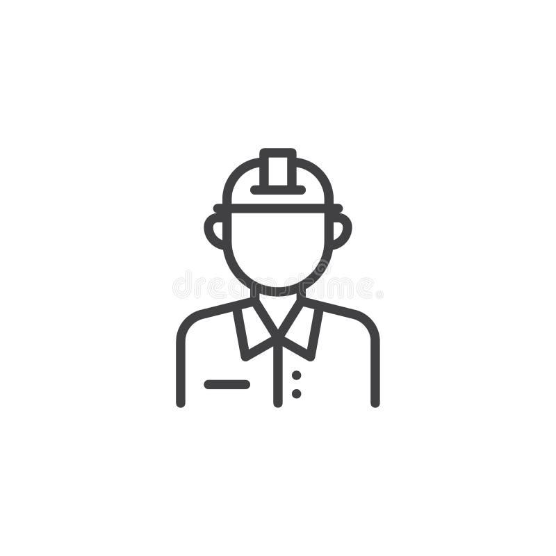 Mężczyzny pracownika budowlanego linii ikona royalty ilustracja