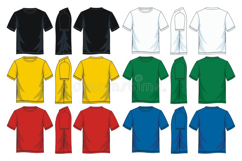 Mężczyzny round szyi koszulki szablony, przód, plecy i boczni widoki, ilustracji