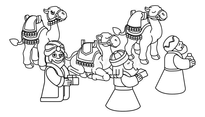 Mędrzec narodzenie jezusa sceny Bożenarodzeniowa kreskówka royalty ilustracja