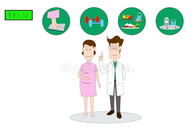Męscy lekarka stojaki wyjaśniać kobiety, środki ostrożności zapobiegać gestational cukrzyca bezwład ilustracja wektor