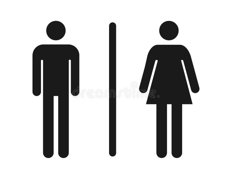 Męski i żeński toaletowy ikona wektor, wypełniający mieszkanie znak, stały piktogram odizolowywający WC symbol, logo ilustracja ilustracja wektor