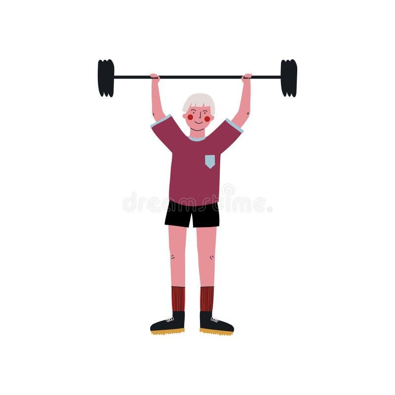 Męskiego Weightlifter Powstający Barbell, Aktywnego sporta styl życia wektoru Zdrowa ilustracja royalty ilustracja